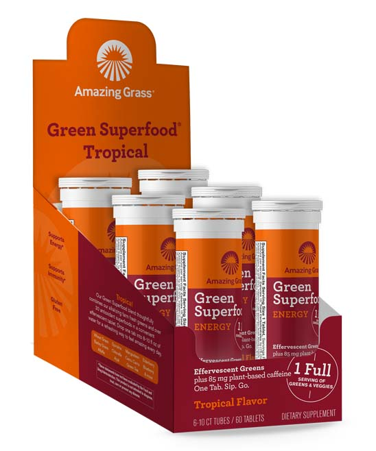 Green Superfood Effervescent Tropical Tablets - 6 Tubes of 10