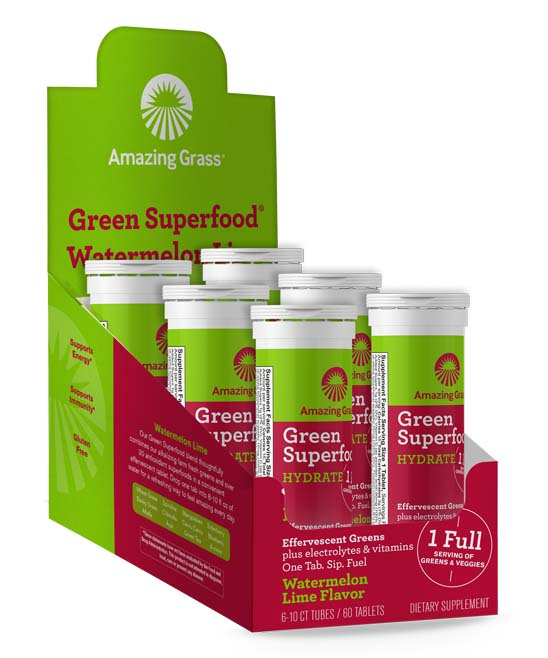 Green Superfood Effervescent Watermelon Tablets - 6 Tubes of 10