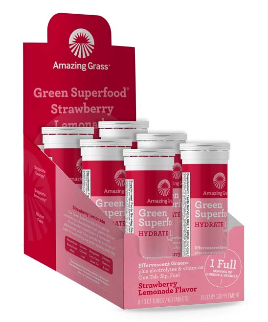 Green Superfood Effervescent Strawberry Lemonade Tablets - 6 Tubes of 10