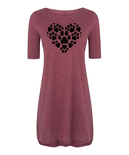 Instant Message Women's Women's Casual Dresses HEATHER - Heather Wine Pawprint Heart Three Quarter-Sleeve Dress - Women