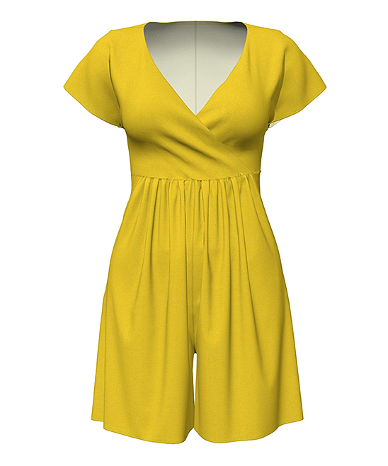 Yellow Cap-Sleeve Surplice Romper - Women Yellow Cap-Sleeve Surplice Romper - Women.  A gathered waist and face-framing surplice neckline enliven the solid-color style of this playful romper. Accessorize with sandals and your favorite fashion jewelry for a dynamite warm-weather look.Size S: 35'' long from high point of shoulder to hemSize S: 5'' inseam95% rayon / 5% spandexMachine wash; tumble dryAssembled in the USA using imported materialsShipping note: This item is made to order. Allow extra time for your special find to ship.