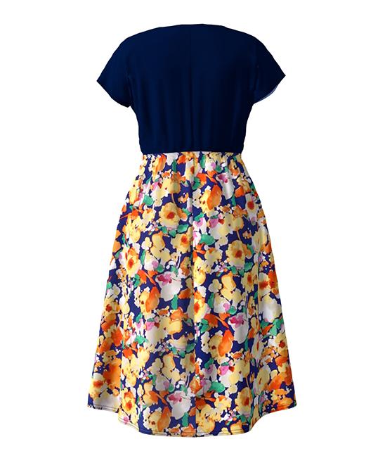 9f710fe6b5 love this product Navy & Yellow Floral Cap-Sleeve Surplice A-Line Midi Dress  - Women & Plus
