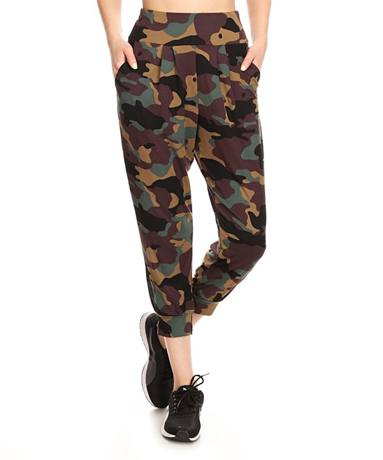 Womens Camo High-Waist Harem Pants - Women Womens Camo High-Waist Harem Pants - Women.  Relax in fashion-forward style in these flowing camo harem pants that feature a touch of stretch for extra comfort.Size S: 30'' inseam92% polyester / 8% spandexMachine washImported