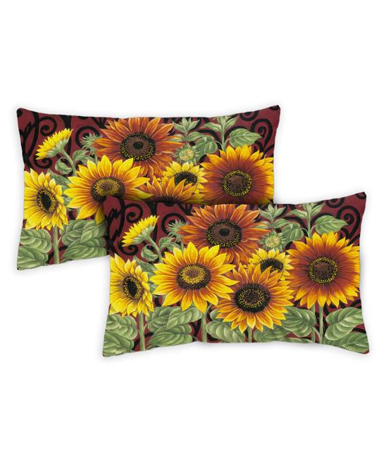 Toland Home Garden  Patio Decorative Pillows  - Yellow & Green Sunflower Medley Outdoor Lumbar Throw Pillow - Set of Two