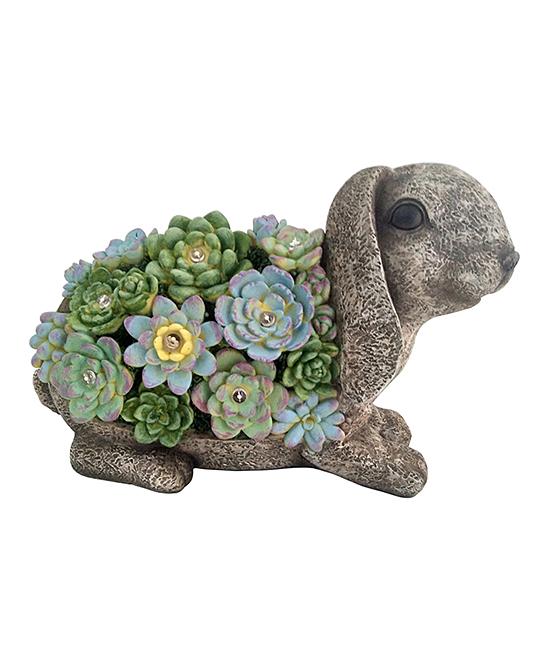 Gray & Green Succulent Solar Light-Up Rabbit Figurine