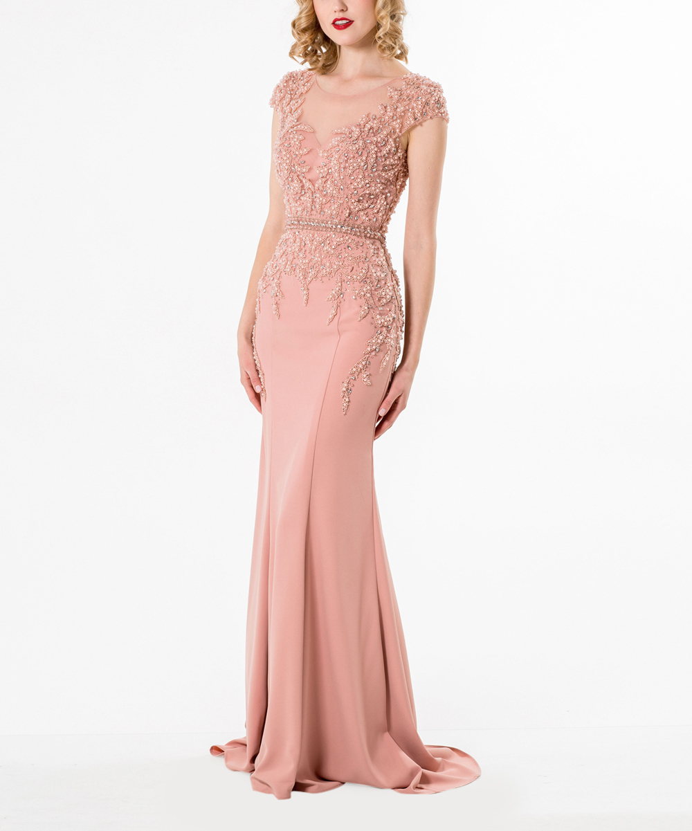 Terani Couture Blush Sequin Bodice Cap Sleeve Gown Women Zulily