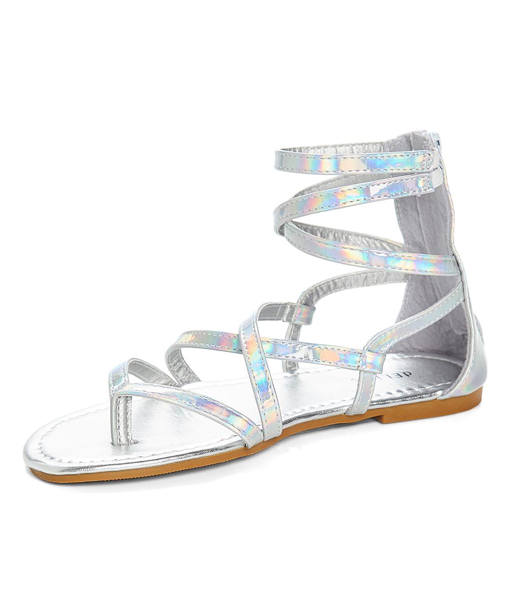 1a2bb9961fd4 dELiA s Silver Iridescent Gladiator Sandal - Women