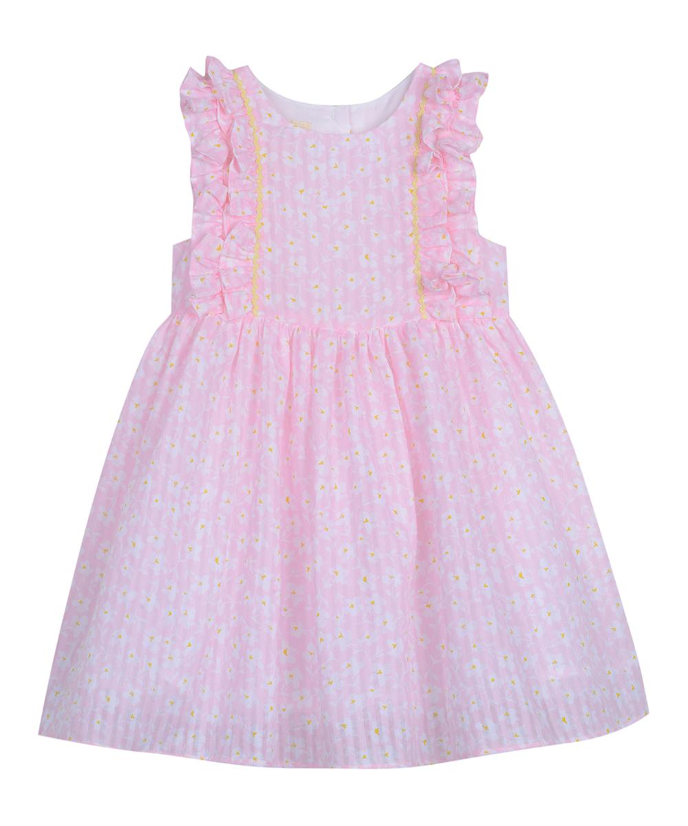 9199271db Laura Ashley® Pink   White Floral Ruffle-Trim A-Line Dress - Infant ...