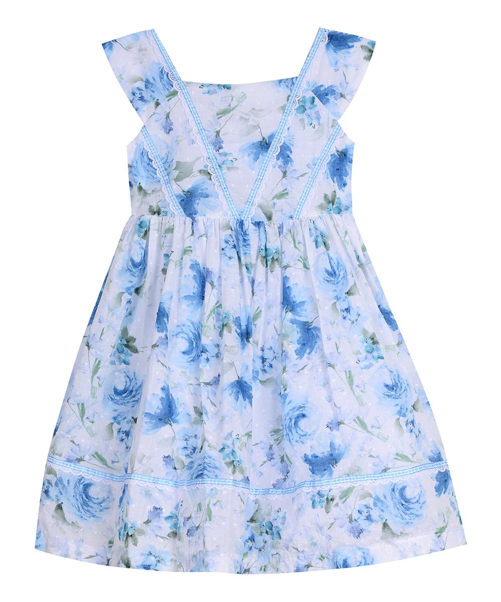 6557bad35e1 Laura Ashley® White   Blue Floral Apron Dress - Infant