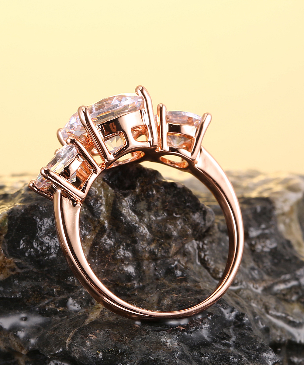 6d0c4998c ... Womens Rose Gold/White 18k Rose Gold-Plated Triple Ring With Swarovski®  Crystals