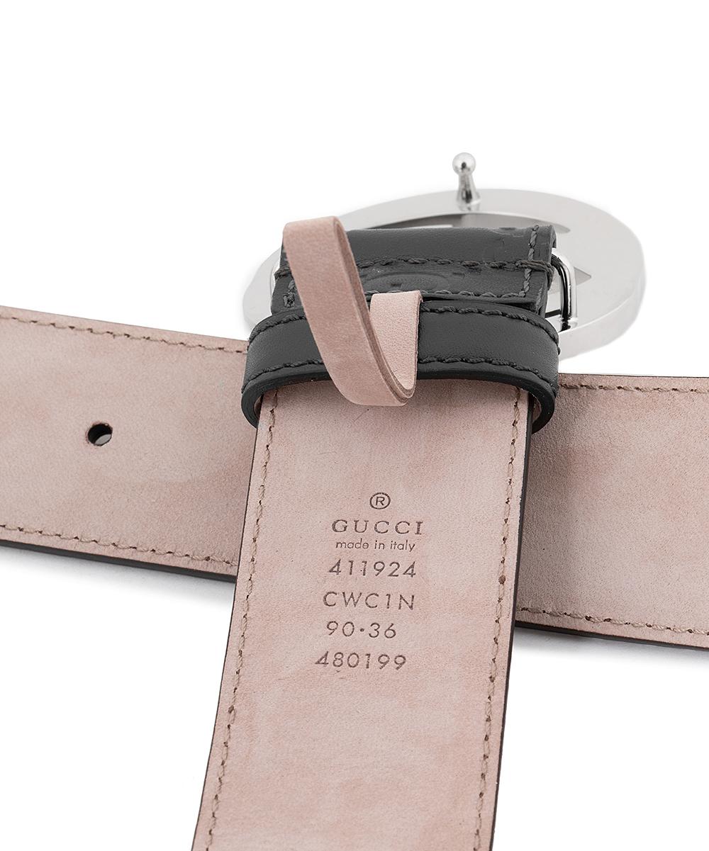 41a9c25b7 ... Womens Black Black & Silver Signature Leather Belt - Alternate Image ...