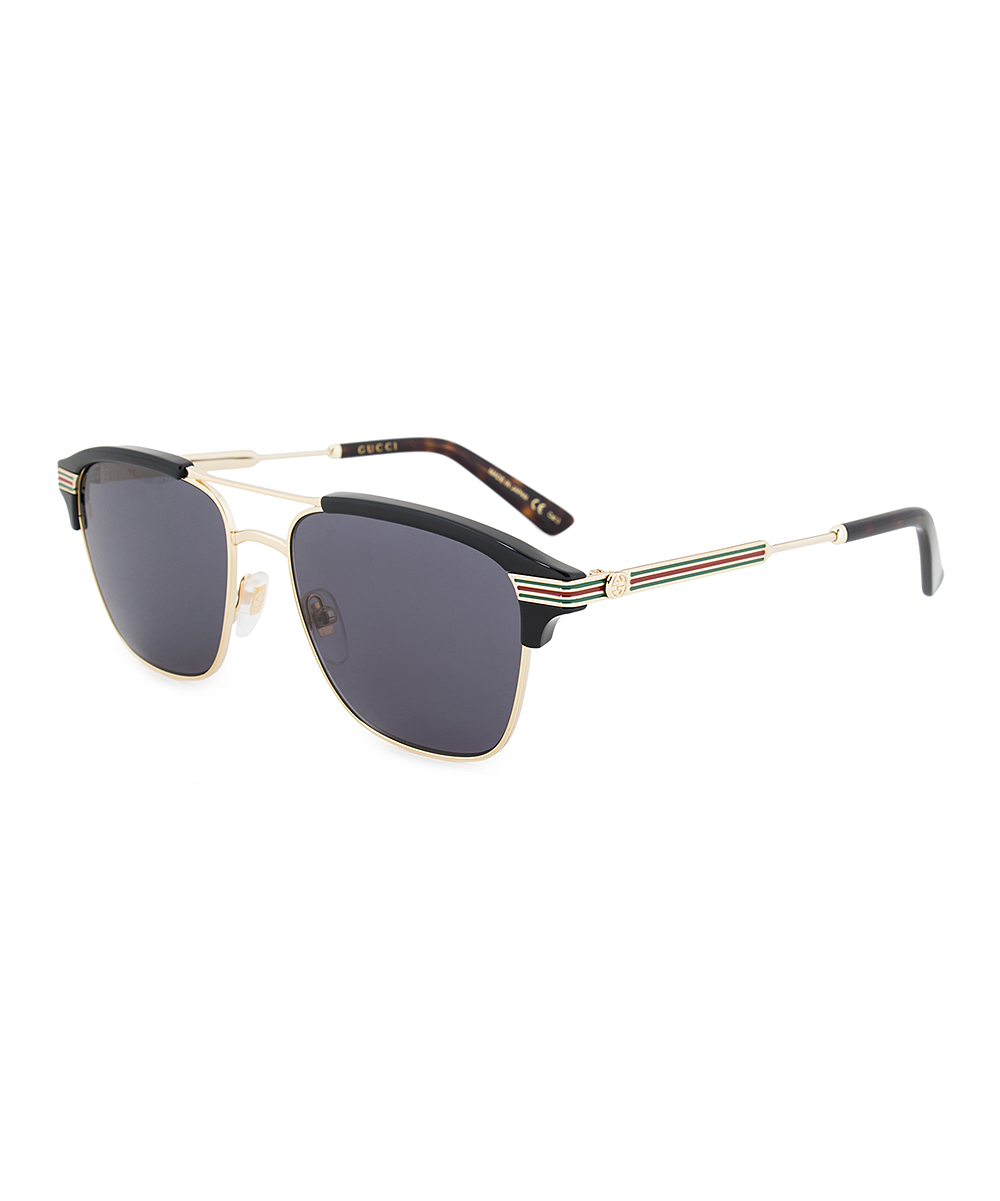 Black & Goldtone Stripe-Arm Modified Aviator Sunglasses - Men Black & Goldtone Stripe-Arm Modified Aviator Sunglasses - Men. Shining signature Gucci Stripe arms showcase these modified aviator sunglasses for a luxe, designer finish to your sunny day wardrobe. Includes sunglasses, cleaning cloth and caseLens width: 54 mmBridge distance: 17 mmArm length: 145 mmMetal100% UV protectionImported