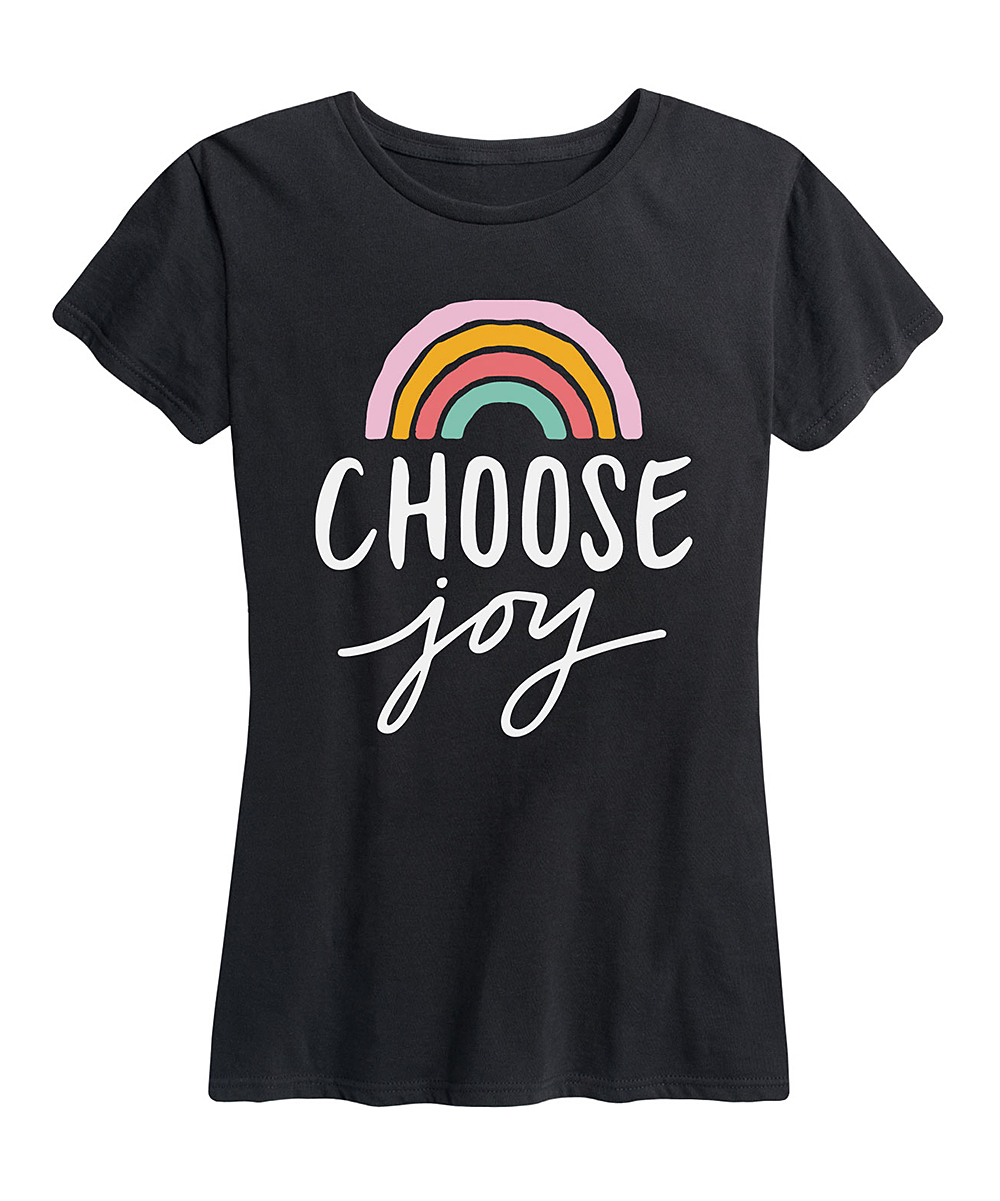 Instant Message Women's Women's Tee Shirts BLACK - Black 'Choose Joy' Rainbow Relaxed-Fit Tee - Women