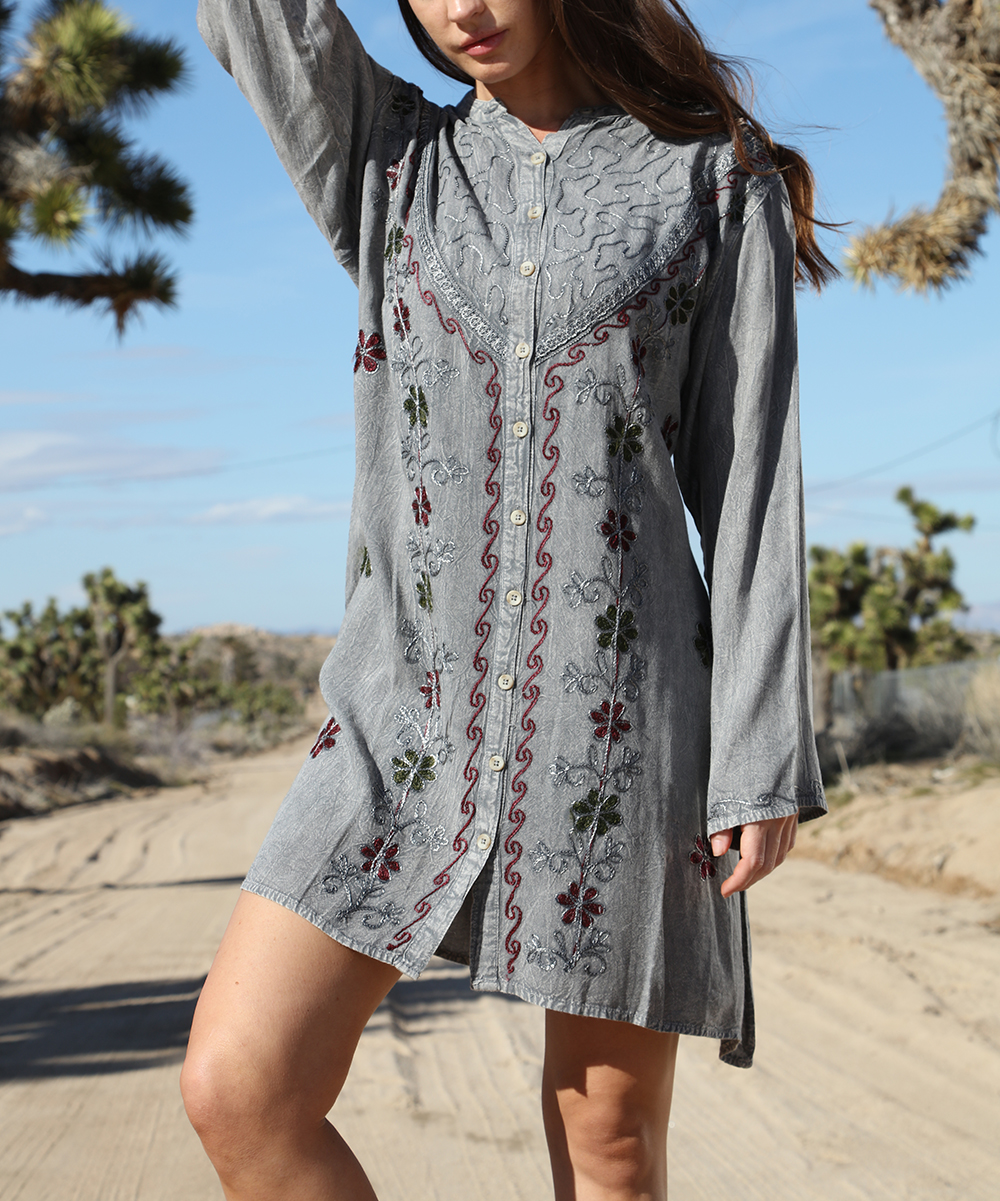 Ananda's Collection Women's Casual Dresses GRAY - Gray Embroidered Button-Front T-Shirt Dress - Plus