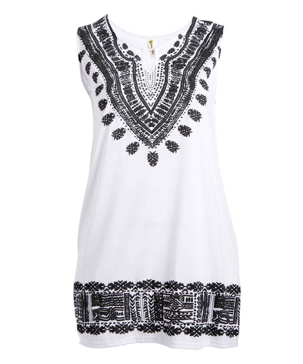 a53d6162bf White & Black Arabesque Keyhole Sleeveless Dress - Women & Plus   Zulily