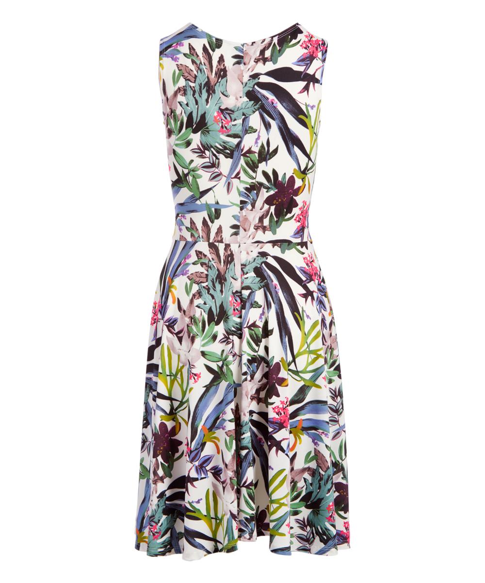 509e3c5ef8 StellaMax White & Blue Tropical Fit & Flare Dress - Women   Zulily