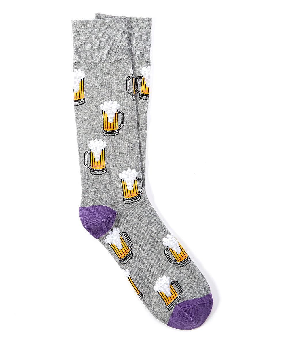 Gray Heather Beer Socks - Men Gray Heather Beer Socks - Men. Switch up his sock collection with these vibrant socks boasting a quirky beer pint print. Imported