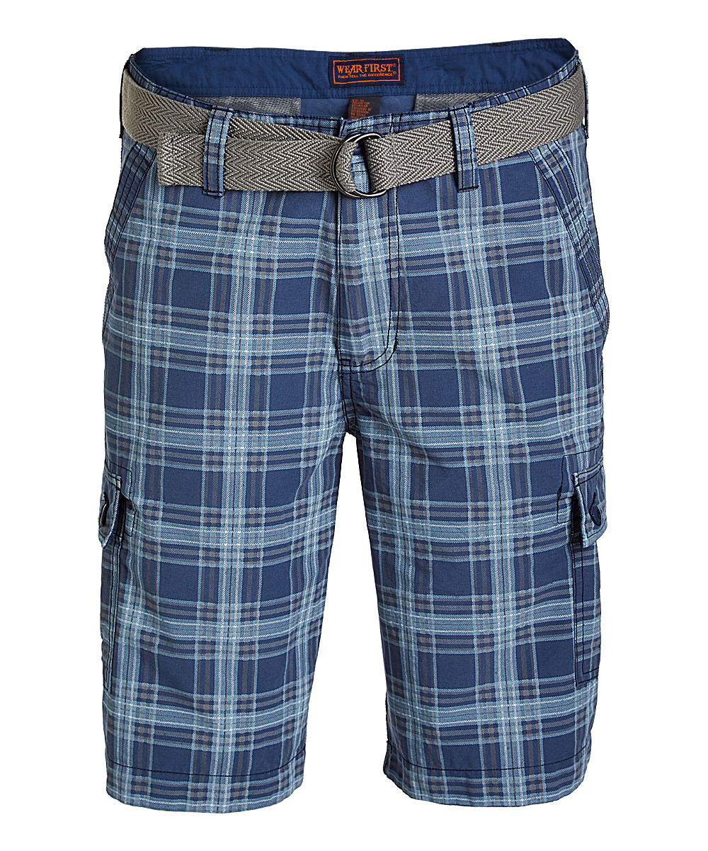 Dark Denim Plaid Belted Cargo Shorts - Men Dark Denim Plaid Belted Cargo Shorts - Men. Give his wardrobe collection an update with these belted cargo shorts made from durable fabric and featuring a total of six pockets throughout. 75% cotton / 25% nylonMachine washImported