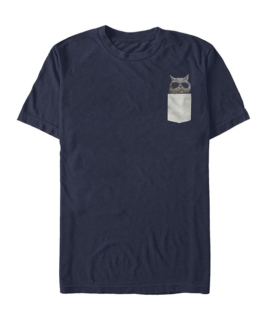 Navy Kitty with Sunglasses Pocket Tee - Men Navy Kitty with Sunglasses Pocket Tee - Men. Freshen up his casual tee collection with this playful graphic tee made from soft cotton to ensure his comfort.  Printed with phthalate-free water-based inks100% cottonMachine wash; tumble dryImported, screen printed in the USAShipping note: This item is made to order. Allow extra time for your special find to ship.