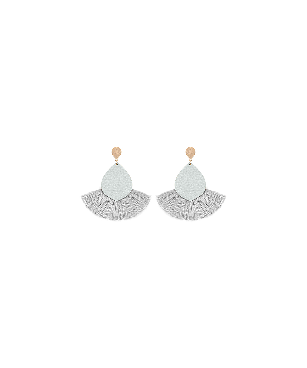 Gray & Goldtone Fan Teardrop Earrings Gray & Goldtone Fan Teardrop Earrings. Spruce up your daily looks with these trend-right teardrop earrings flaunting an eye-catching pebbled design and playful fringe trim. 2'' W x 3'' LGoldtone metal / man-madeImported