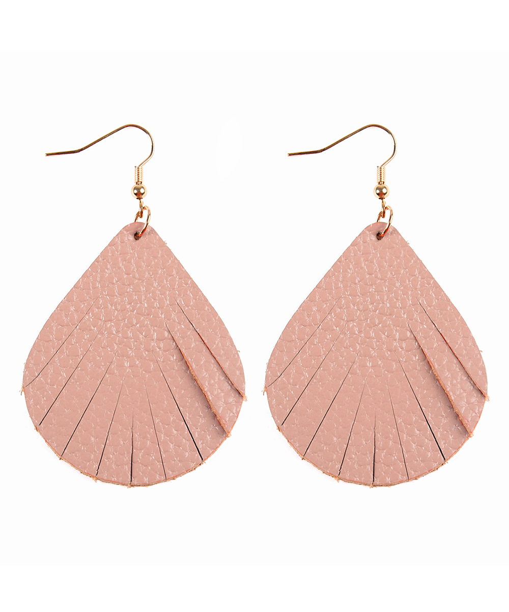 Nude Leather Fringe Drop Earrings Nude Leather Fringe Drop Earrings. Lend subtle glam to your lobes with these minimalist drop earrings crafted with supple leather cut into trend-right fringe. 1'' W x 3'' LGoldtone metal / leatherImported