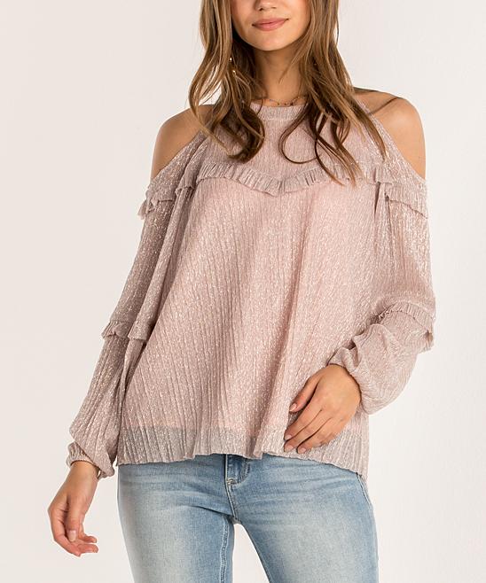 Pink Ruffle Detail Open Shoulder Long Sleeve Top Women