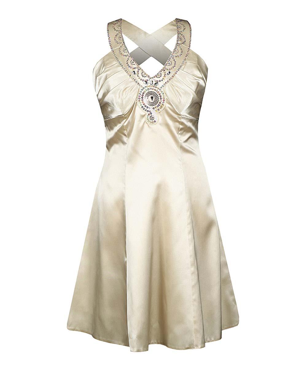 a217728f01 Fokus Champagne Rhinestone-Embellished Yoke Dress - Women | Zulily