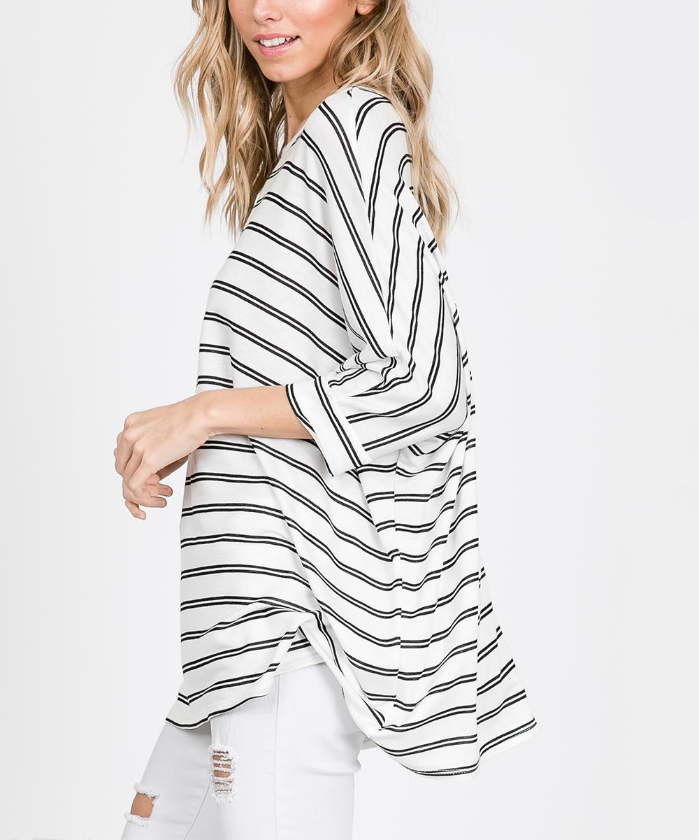 bac277a2f55f CY Fashion Off-White Stripe Dolman Tunic - Women | Zulily
