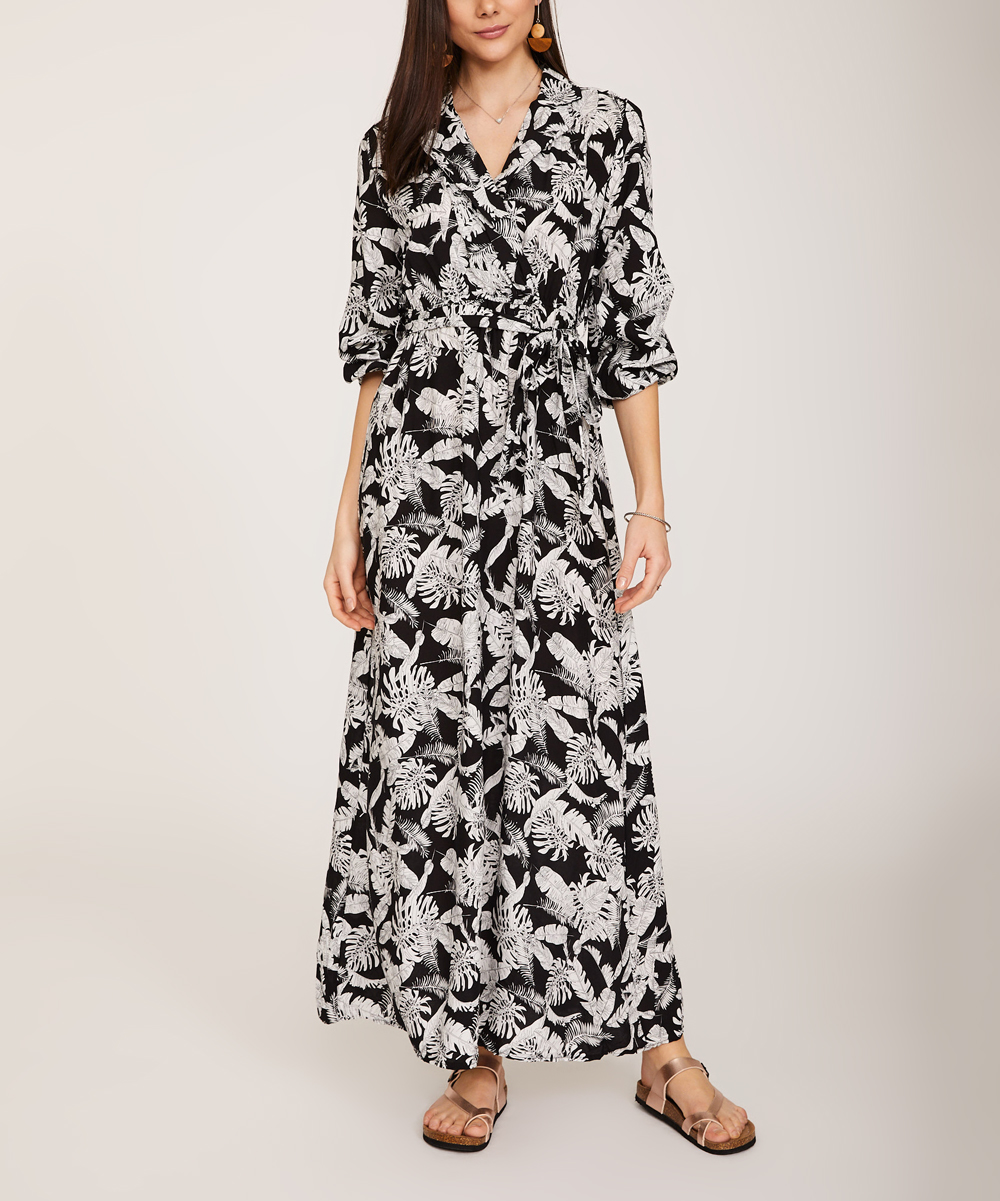 fdcd76f9b83c KeepKool Black   White Palm Leaf Maxi Wrap Dress - Women