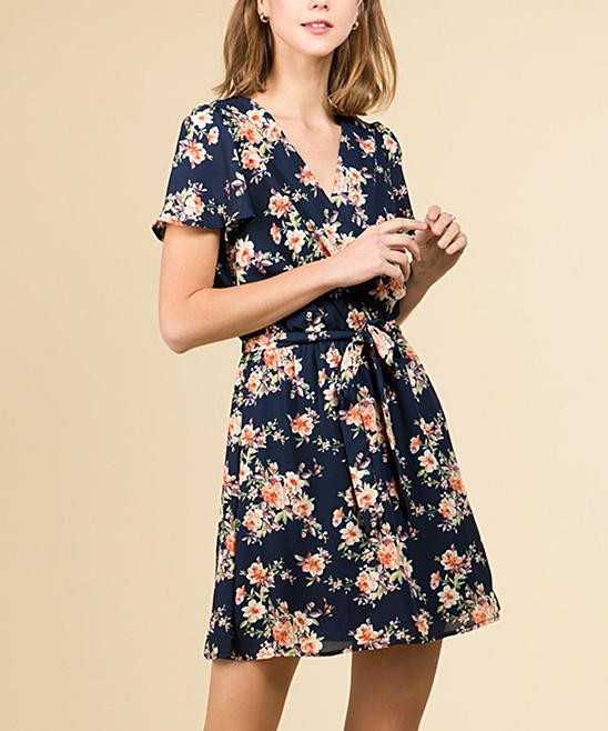 5b2e39b566ea As U Wish Navy & Coral Floral Flutter-Sleeve Dress - Women   Zulily