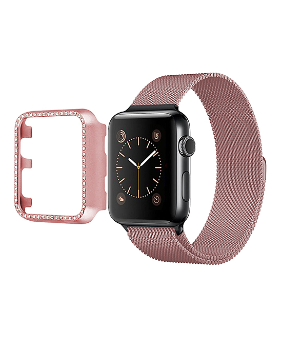 Epic Deals  Screen Protectors Rose - Rose Gold Rhinestone-Trim Apple Watch Protector Case