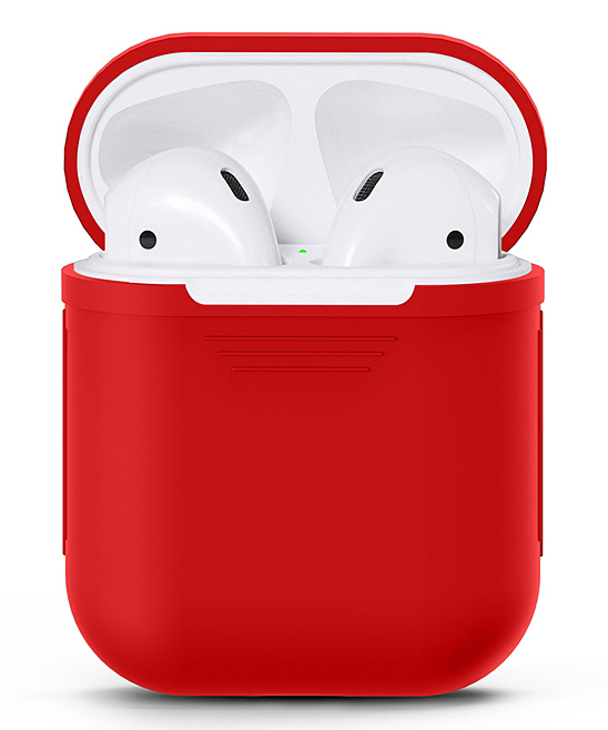 Waloo  Wired Headphones Red - Red Silicon Apple Airpod Case Red Silicon Apple Airpod Case. Give your AirPods the love they deserve with this durable case that features a shock- and water-resistant silicone body for long-lasting appeal.Apple AirPods not includedSiliconeImported