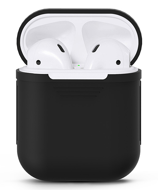 Waloo  Wired Headphones Black - Black Silicon Apple Airpod Case Black Silicon Apple Airpod Case. Give your AirPods the love they deserve with this durable case that features a shock- and water-resistant silicone body for long-lasting appeal.Apple AirPods not includedSiliconeImported