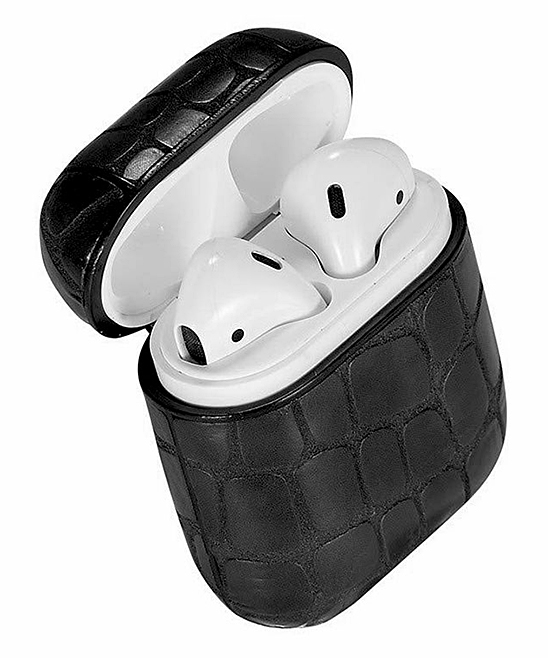 Black Snake Apple AirPod Case Black Snake Apple AirPod Case. Give your AirPods the love they deserve with this durable case that features a locking carabiner and elegant snakeskin design.Includes case and carabiner7cm W x 8cm H x 3cm DABS plasticImported