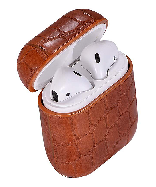 Tan Snake Apple AirPod Case Tan Snake Apple AirPod Case. Give your AirPods the love they deserve with this durable case that features a locking carabiner and elegant snakeskin design.Includes case and carabiner7cm W x 8cm H x 3cm DABS plasticImported