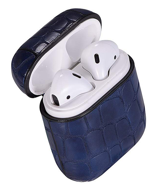 Navy Blue Snake Apple AirPod Case Navy Blue Snake Apple AirPod Case. Give your AirPods the love they deserve with this durable case that features a locking carabiner and elegant snakeskin design.Includes case and carabiner7cm W x 8cm H x 3cm DABS plasticImported