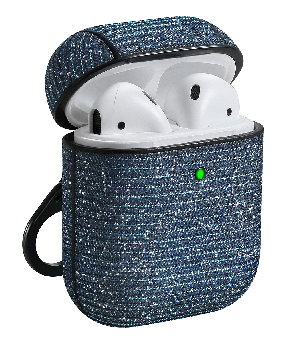 Blue Bling Apple Airpods Case Blue Bling Apple Airpods Case. Shield your Airpods from harm when you cover them in this protective case featuring a eye-catching design bolstered by a handy rear clip. Airpods not included1.97'' W x 2.16'' HFabricImported