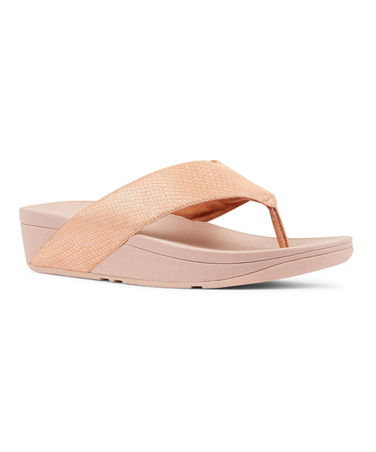 FitFlop Nude Snake-Embossed Leather Sandal - Women