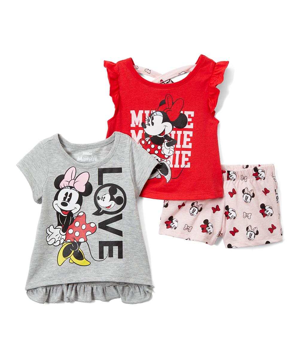 b810988b5bd6 Childrens Apparel Network Minnie Mouse Gray Tee Set - Girls   Zulily