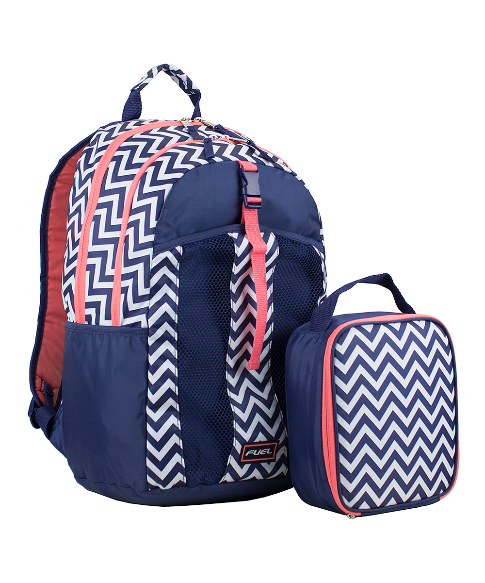 f2514654b FUEL Navy Blue & Coral Chevron Fuel Backpack & Lunch Bag