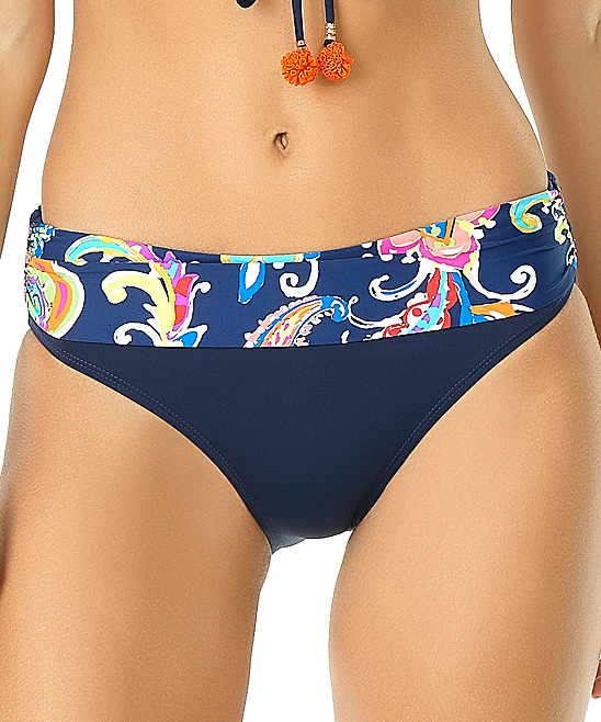 ef9a2d98c Navy   Pink Paisley Eleni Fold-Over Bikini Bottoms - Women - Anne Cole