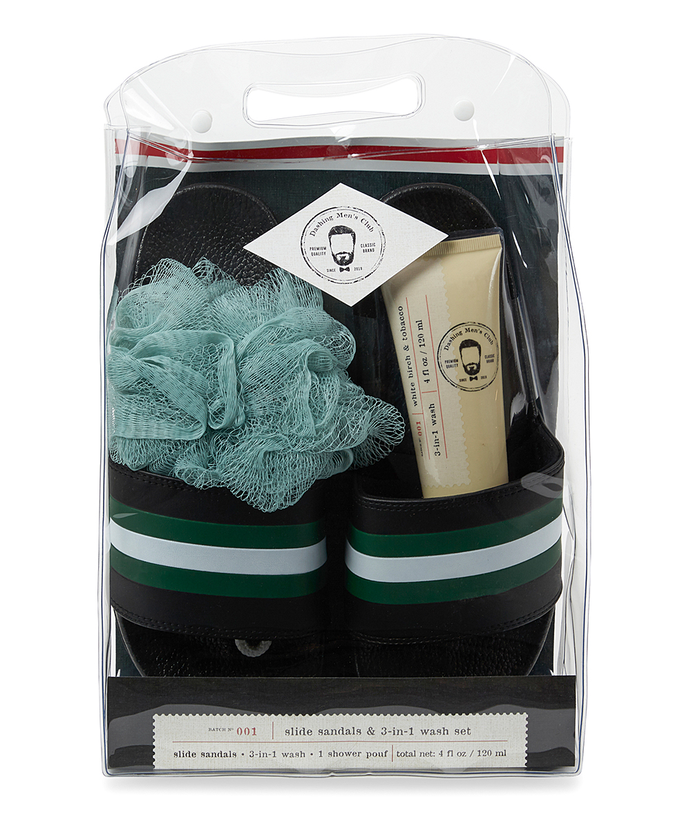 Black & Green Slides & Wash Set Black & Green Slides & Wash Set. Gift him with the luxury of a quality self-care set complete with shower shoes, a shower pouf and a 3-in-1 hair and body wash for a superior showering experience. Includes one black & green slide sandal pair, one shower pouf and one 3-in-1 wash (three pieces total)4 oz.ImportedDash for the Deal