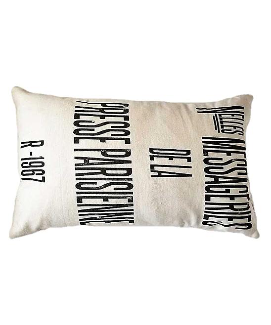 Natural & Black 'Presse Parisienne' Lumbar Pillow Cover