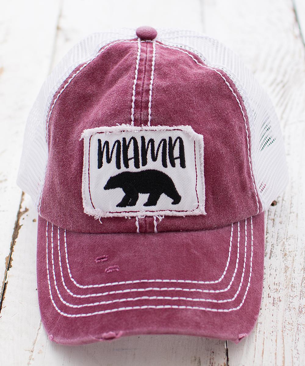 b4ab0be593a Ailis Corner Wine Red Mama Bear Distressed Trucker Hat
