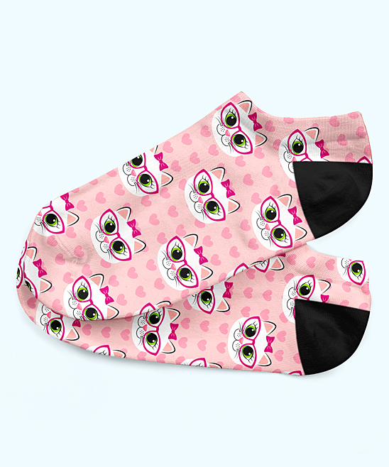 Pink Cats in Bows & Glasses Ankle Socks - Women Pink Cats in Bows & Glasses Ankle Socks - Women. Take your basics collection from bland to bold with these ankle socks featuring a soft cotton lining and an adorable bow-bedecked cat print. Fits shoe sizes 5 to 10Self: 53% cotton / 45% polyester / 2% spandexContrast (lining): 100% cottonMachine wash; dry flatImported