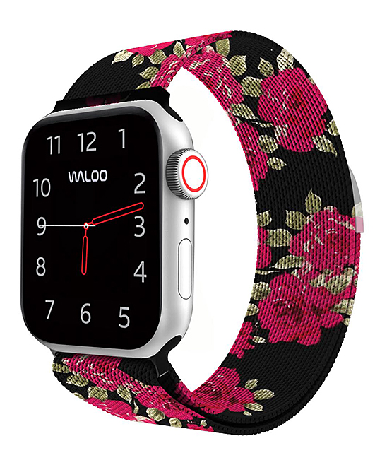 Black Floral Woven Band for Apple Watch Black Floral Woven Band for Apple Watch. Durable and sleek, this woven band replaces existing straps for the Apple Watch and is an effective way to highlight your personality. Apple watch not includedAdjustable magnetic claspStainless SteelCompatible with Apple Watch Band Series 1, 2, 3 and 4Imported