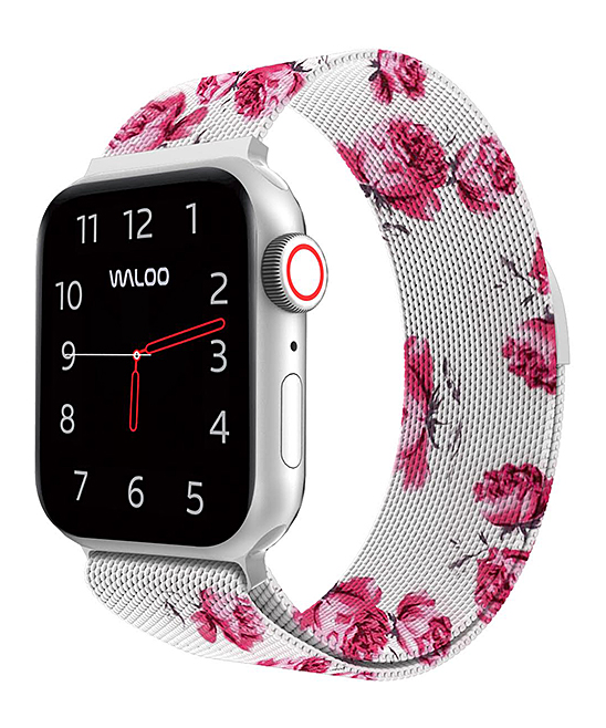White Floral Woven Band for Apple Watch White Floral Woven Band for Apple Watch. Durable and sleek, this woven band replaces existing straps for the Apple Watch and is an effective way to highlight your personality. Apple watch not includedAdjustable magnetic claspStainless SteelCompatible with Apple Watch Band Series 1, 2, 3 and 4Imported