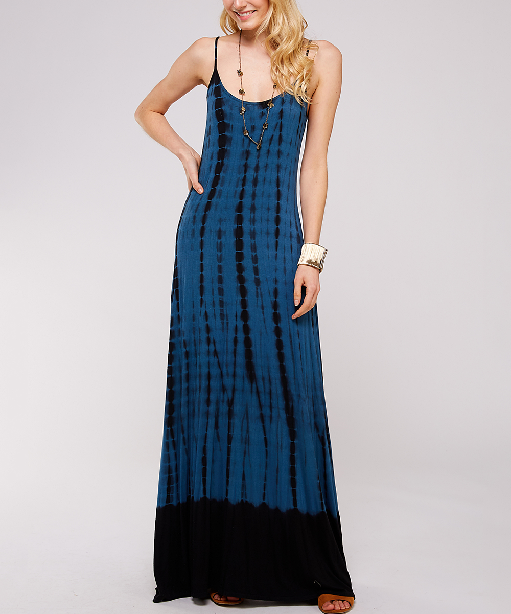67eb0fbf2ed7 Urban X Teal & Black Tie-Dye Maxi Dress - Women | Zulily