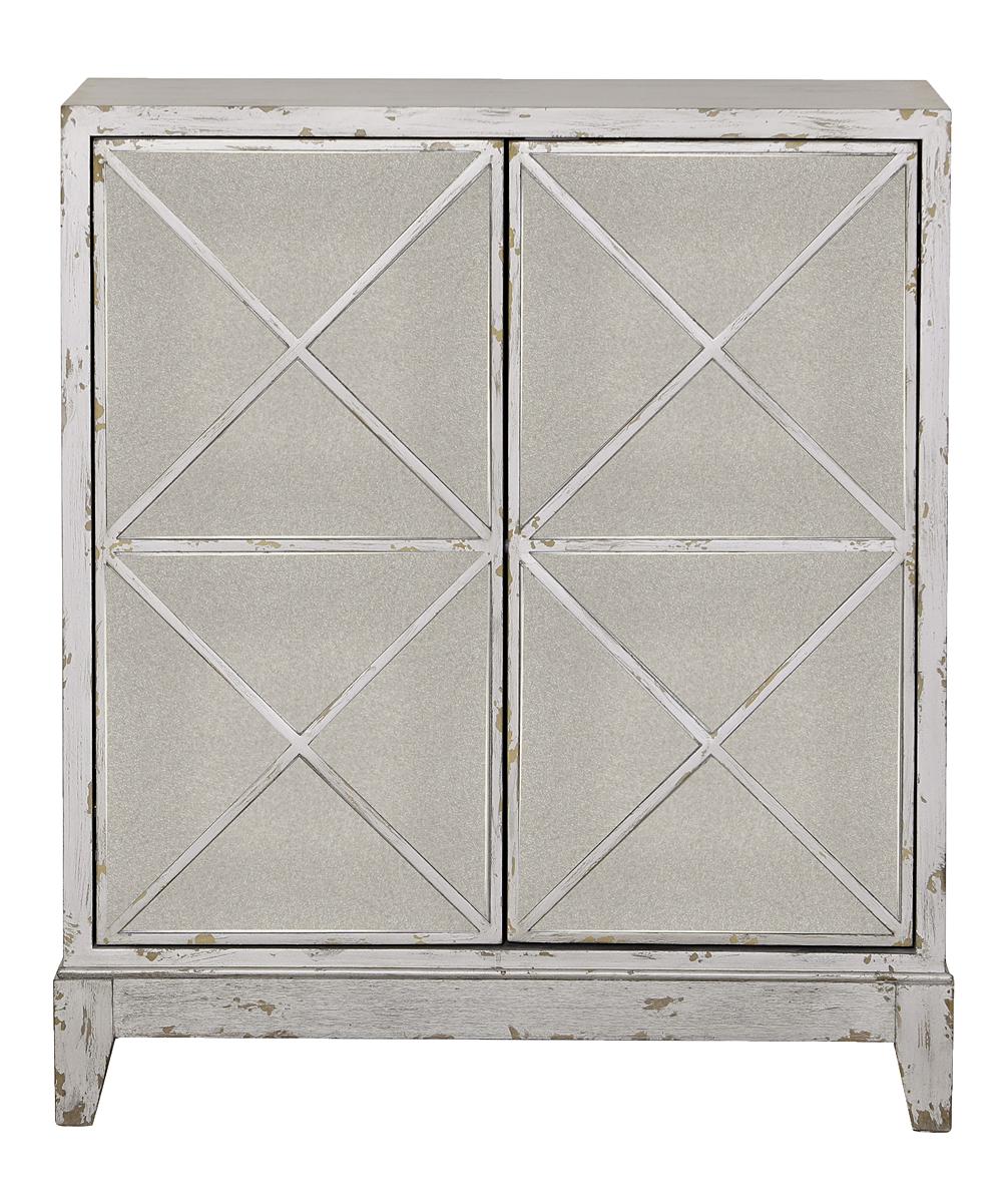 Pulaski White Distressed Geometric Two Door Bookcase