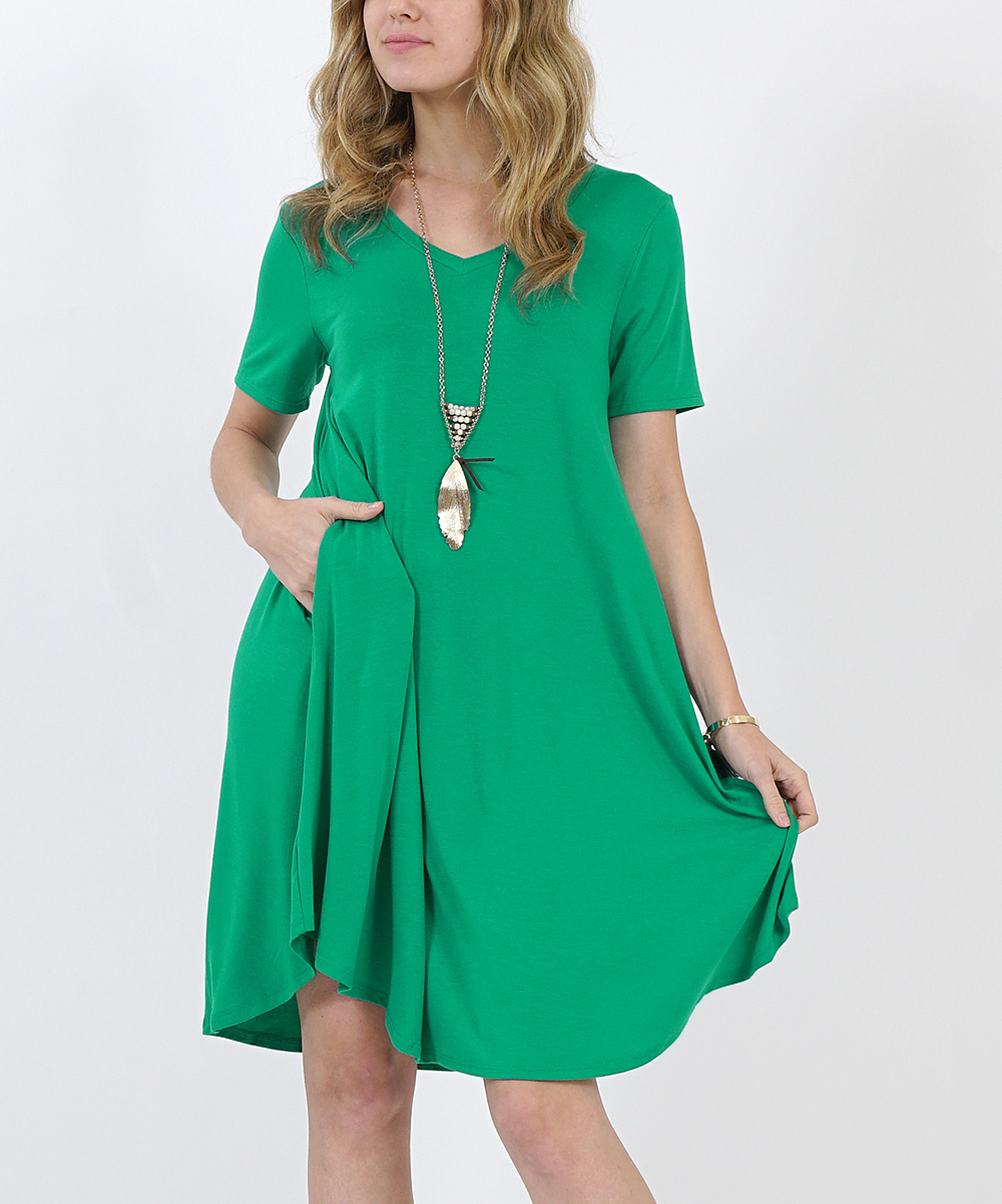 b4f7cd9f220 Kelly Green V-Neck Short-Sleeve Curved-Hem Pocket Tunic Dress ...